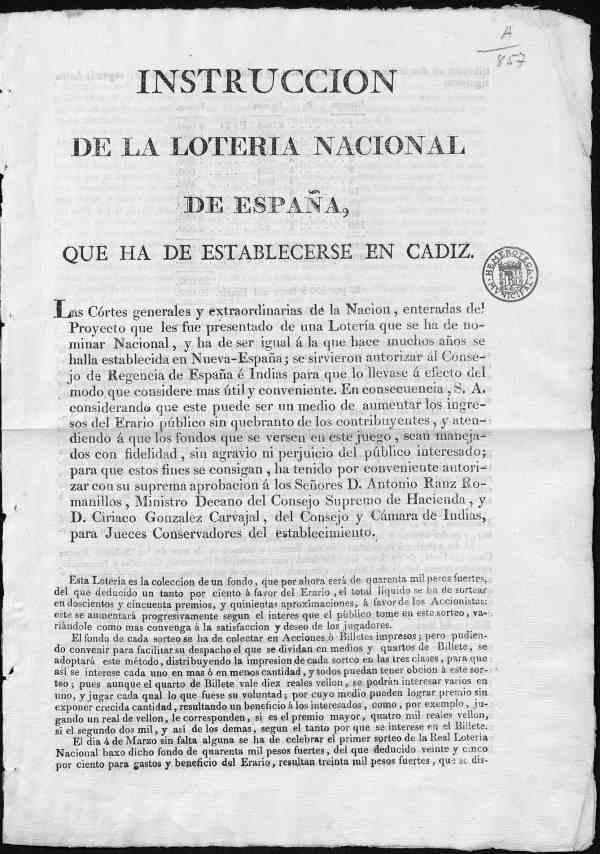 Instrucción de la Lotería Nacional