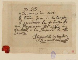 Presunta nota de Miguel de Cervantes a Juan de la Cuesta