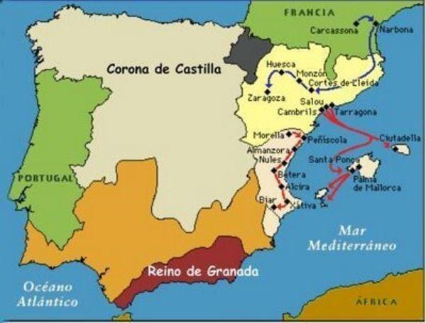 Mapa conquistas de Jaime I